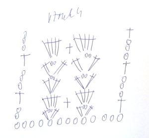 Vzorek, dvě řady véček a vějířky